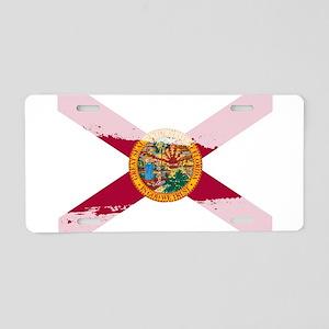 Florida Flag Splash Aluminum License Plate