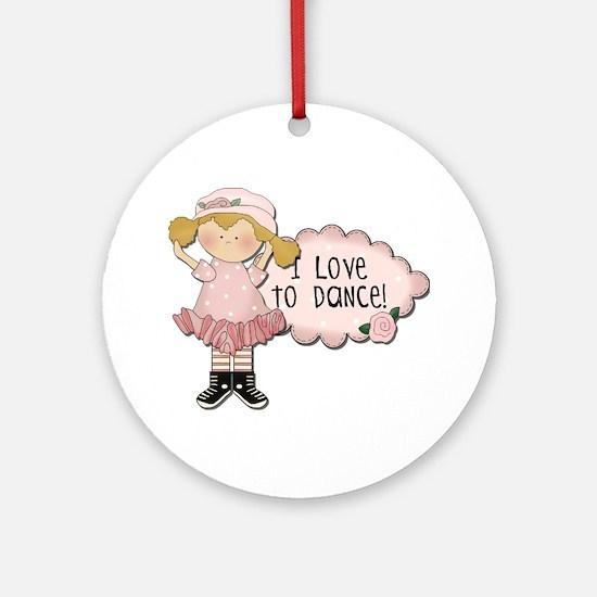 Blond Girl Dancer Ornament (Round)