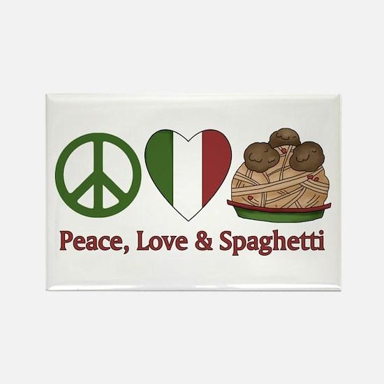 Peace, Love & Spaghetti Rectangle Magnet (100