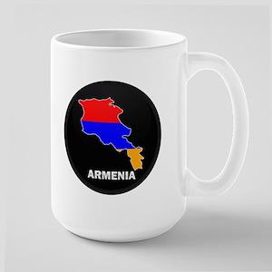 Flag Map of Armenia Large Mug