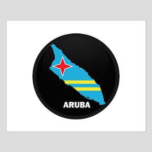 Flag Map of Aruba Small Poster