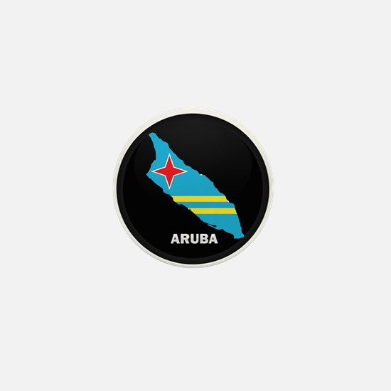 Flag Map of Aruba Mini Button