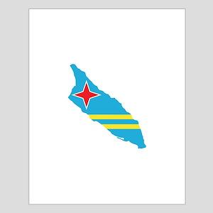 Aruba Flag Map Small Poster