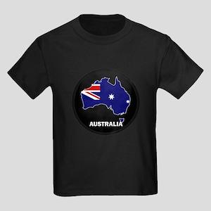 Flag Map of Australia Kids Dark T-Shirt