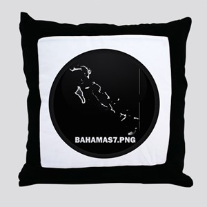 Flag Map of Bahamas Throw Pillow