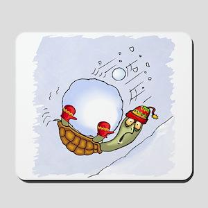 Turtle Snowball Fun Mousepad