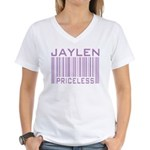 Jaylen Custom Priceless Barcode Women's V-Neck T-S