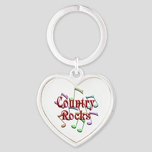 Country Rocks Heart Keychain