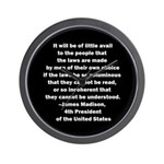 Quote of James Madison Wall Clock