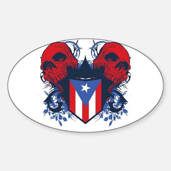 Puerto Rico Skulls Oval Decal