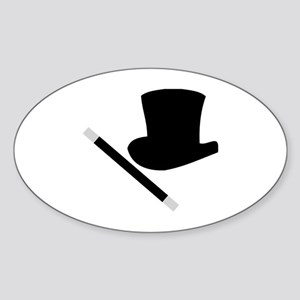 Magic Top Hat and Wand Oval Sticker