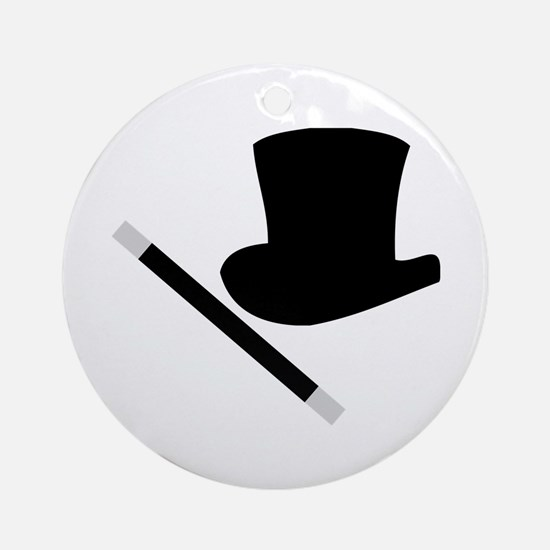 Magic Top Hat and Wand Ornament (Round)