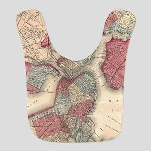 Vintage Map of Boston Massachus Polyester Baby Bib