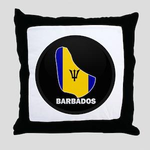 Flag Map of Barbados Throw Pillow