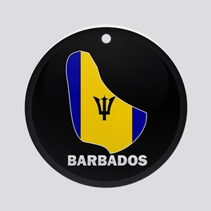 Flag Map of Barbados Ornament (Round)