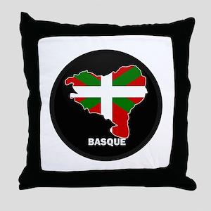 Flag Map of Basque Throw Pillow