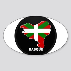 Flag Map of Basque Oval Sticker