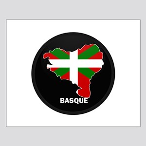 Flag Map of Basque Small Poster