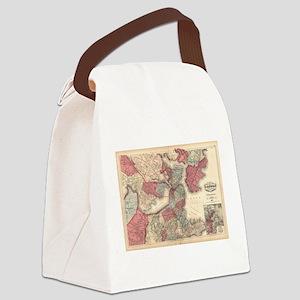 Vintage Map of Boston Massachuset Canvas Lunch Bag
