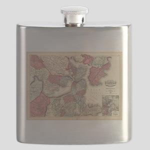 Vintage Map of Boston Massachusetts (1871) Flask