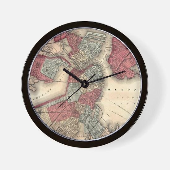 Vintage Map of Boston Massachusetts (18 Wall Clock