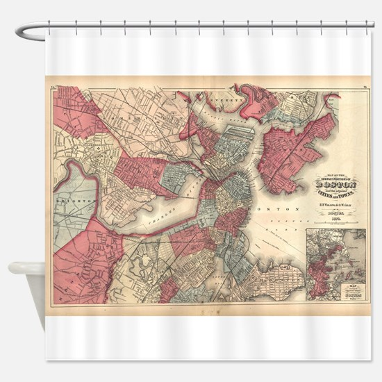 Vintage Map of Boston Massachusetts Shower Curtain