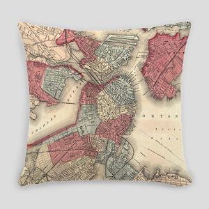 Vintage Map of Boston Massachusett Everyday Pillow