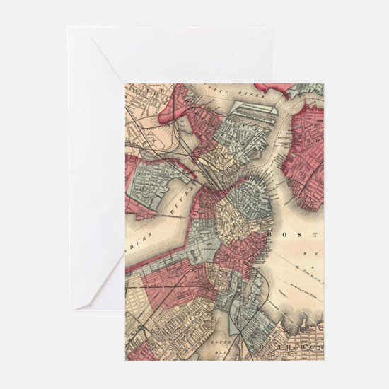Vintage Map of Boston Massachusetts Greeting Cards