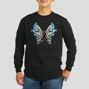 Skin Cancer Butterfly Long Sleeve Dark T-Shirt