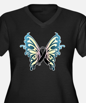 Skin Cancer Butterfly Women's Plus Size V-Neck Dar