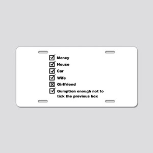 Check List For A Happy Life Aluminum License Plate