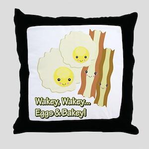 Wakey Wakey Eggs N Bakey Throw Pillow