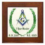 Masonic 5 Year Member Framed Tile