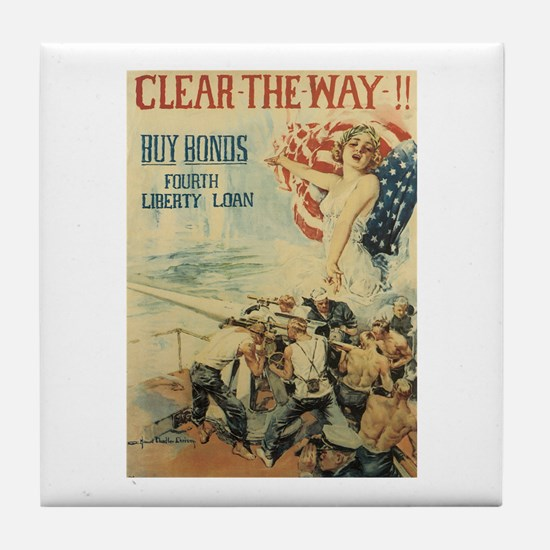Navy WWI Poster Tile Coaster