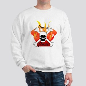 Flames Skull and Crossbones Sweatshirt