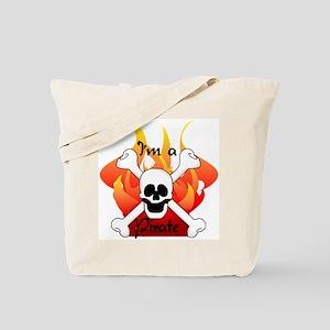 Flames Skull and Crossbones Tote Bag
