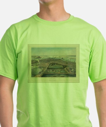 Vintage Pictorial Map of Boston MA (1850) T-Shirt
