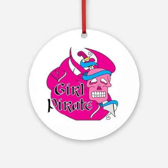 Sword Girl Pirate Ornament (Round)
