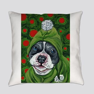 Christmas Elf Pit Bull Dog Art Everyday Pillow