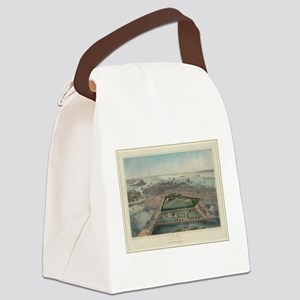 Vintage Pictorial Map of Boston M Canvas Lunch Bag