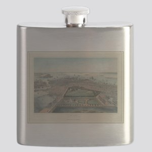 Vintage Pictorial Map of Boston MA (1850) Flask