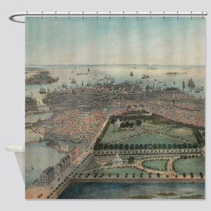 Vintage Pictorial Map of Boston MA Shower Curtain