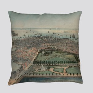 Vintage Pictorial Map of Boston MA Everyday Pillow