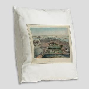 Vintage Pictorial Map of Bosto Burlap Throw Pillow