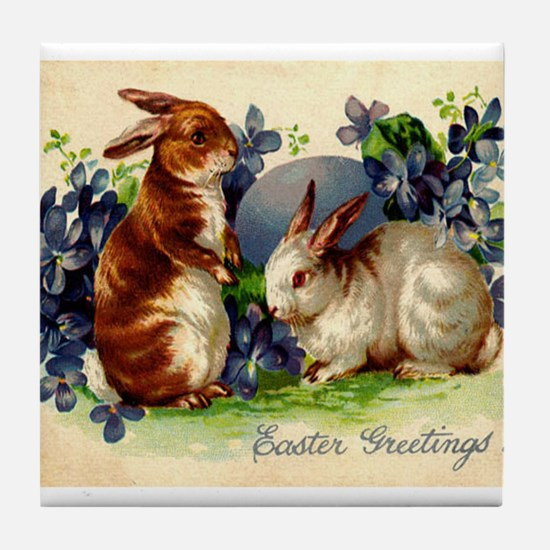 """Easter Bunnies"" Tile Coaster"