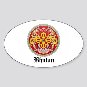 Bhutanese Coat of Arms Seal Oval Sticker