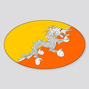 Bhutan Flag Oval Sticker