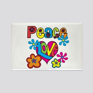 Peace and Love Rectangle Magnet