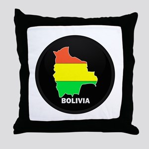 Flag Map of Bolivia Throw Pillow