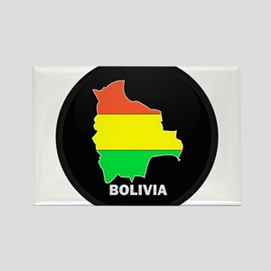 Flag Map of Bolivia Rectangle Magnet